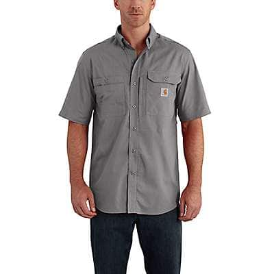 Carhartt Men's Asphalt Carhartt Force® Ridgefield Solid Short Sleeve Shirt - front