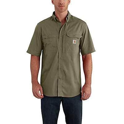 Carhartt Men's Burnt Olive Carhartt Force® Ridgefield Solid Short Sleeve Shirt