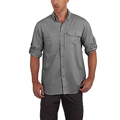 Carhartt Men's Dark Slate Carhartt Force® Ridgefield Solid Long Sleeve Shirt - front