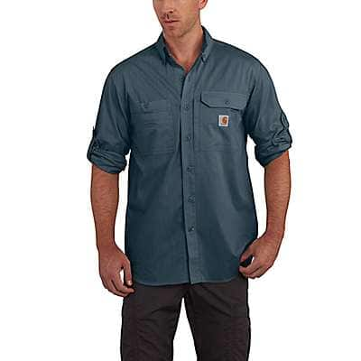 Carhartt Men's Dark Slate Carhartt Force® Ridgefield Solid Long Sleeve Shirt - front