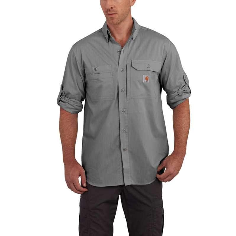 Carhartt  Asphalt Carhartt Force® Ridgefield Solid Long Sleeve Shirt