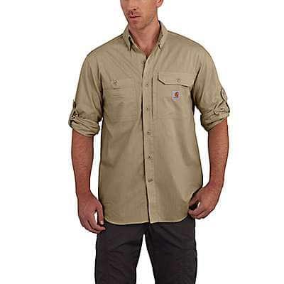 Carhartt Men's Dark Khaki Carhartt Force® Ridgefield Solid Long Sleeve Shirt