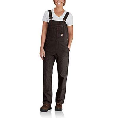 Carhartt Women's Dark Brown Crawford Double-Front Bib Overall - front