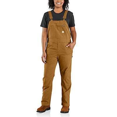 Carhartt Women's Carhartt Brown Rugged Flex® Loose Fit Canvas Bib Overall
