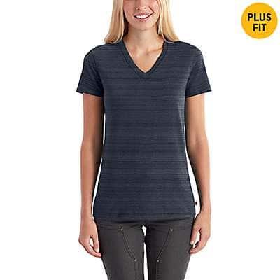 Carhartt Women's Navy Heather Nep Lockhart Short Sleeve V-Neck T-Shirt - front