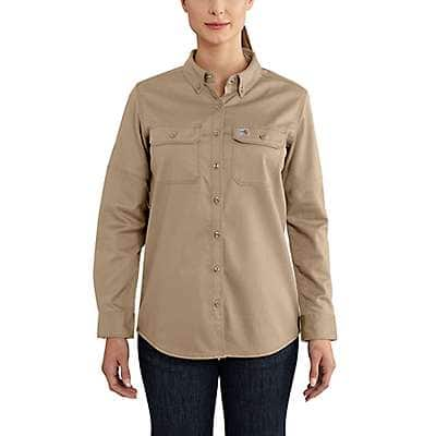 Carhartt Women's Khaki Flame-Resistant Rugged Flex® Twill Shirt