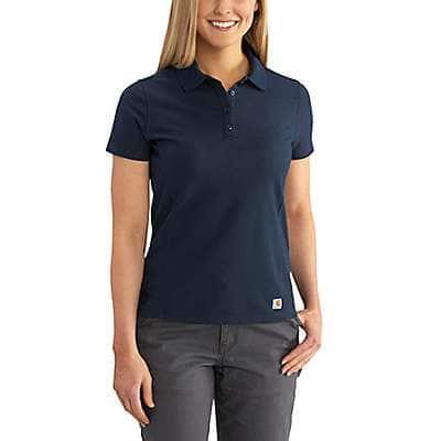 Carhartt Women's Navy Contractor's Short-Sleeve Work Polo - front
