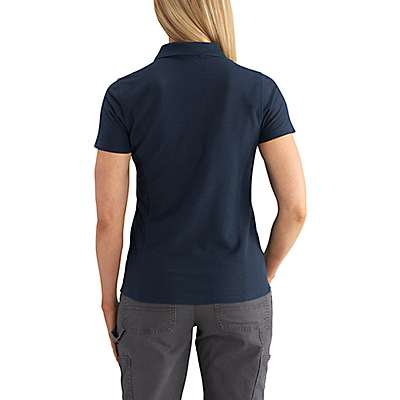 Carhartt Women's Navy Contractor's Short-Sleeve Work Polo - back