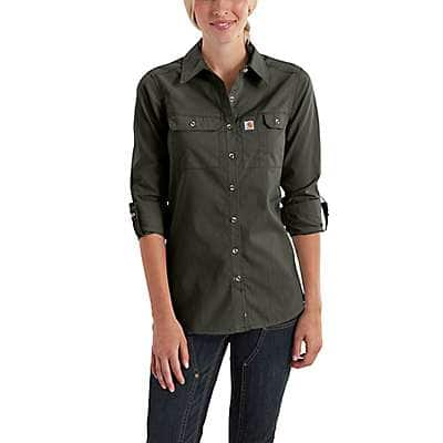 Carhartt Women's Sky Gray Carhartt Force® Ridgefield Shirt - back