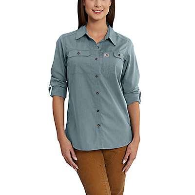 Carhartt Women's Sky Gray Carhartt Force® Ridgefield Shirt - front