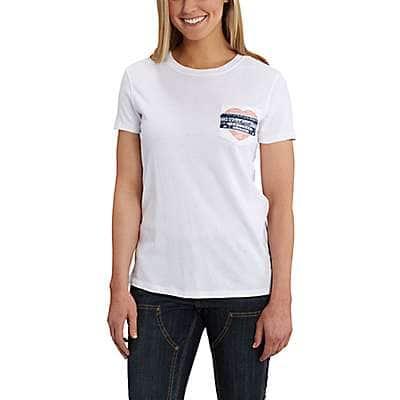 Carhartt Women's White Lockhart Short-Sleeve Pocket T-Shirt - front