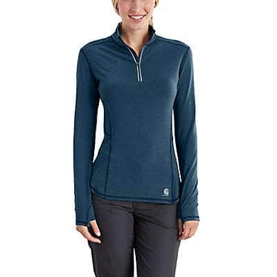 Carhartt Women's Dark Stream Heather Carhartt Force® Ferndale Quarter-Zip - front