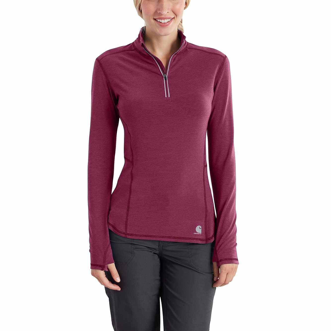 Picture of Carhartt Force® Ferndale Quarter-Zip in Raspberry Heather
