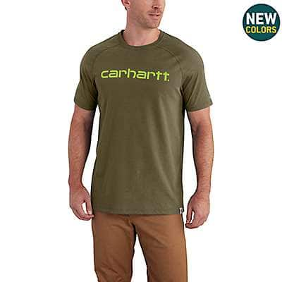 Carhartt Men's Bandana Red Heather Carhartt Force® Cotton Delmont Graphic Short Sleeve Shirt - front