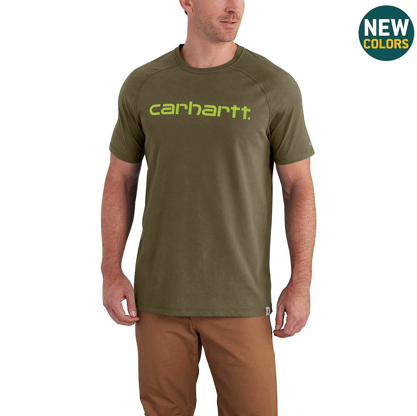 Picture of Carhartt Force® Cotton Delmont Graphic Short Sleeve Shirt in Moss