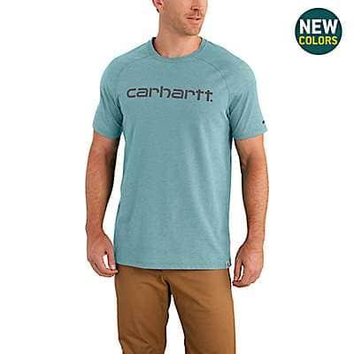 Carhartt Men's Cinderblock Heather Carhartt Force® Cotton Delmont Graphic Short Sleeve Shirt - front