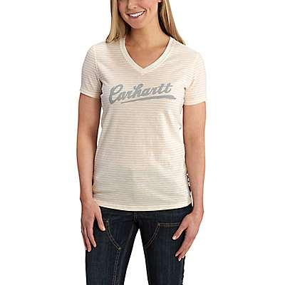Carhartt Women's Natural Wellton Short-Sleeve Striped Logo T-Shirt - front