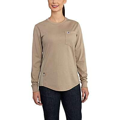 Carhartt Women's Khaki Women's FR Force Cotton Long-Sleeve Crewneck T-Shirt - front