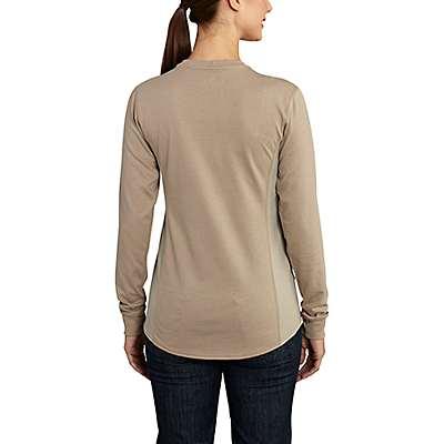 Carhartt  Khaki Women's FR Force Cotton Long-Sleeve Crewneck T-Shirt - back