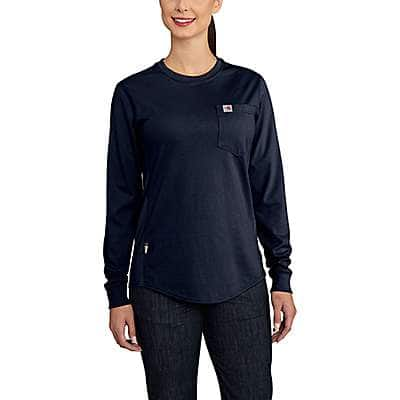 Carhartt Women's Dark Navy Women's FR Force Cotton Long-Sleeve Crewneck T-Shirt - front