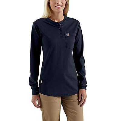 Carhartt Women's Dark Navy Women's FR Force Cotton Long-Sleeve Henley - front