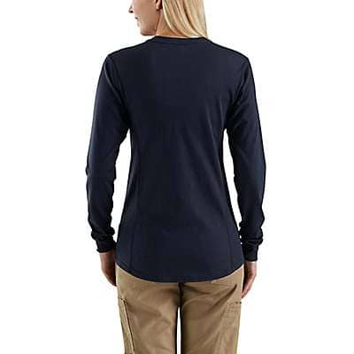 Carhartt Women's Dark Navy Women's FR Force Cotton Long-Sleeve Henley - back