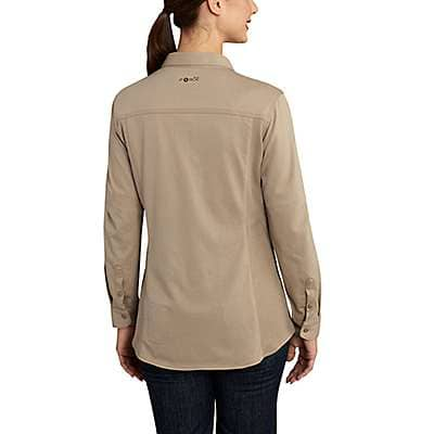 Carhartt Women's Medium Blue Women's FR Force Cotton Hybrid Shirt - back