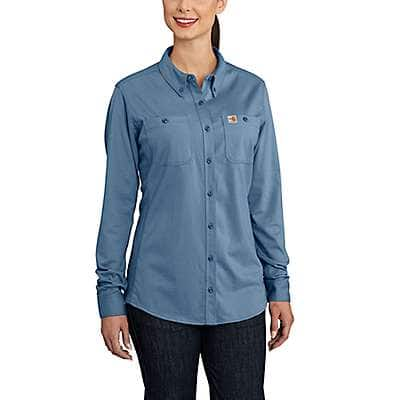 Carhartt Women's Medium Blue Women's FR Force Cotton Hybrid Shirt - front