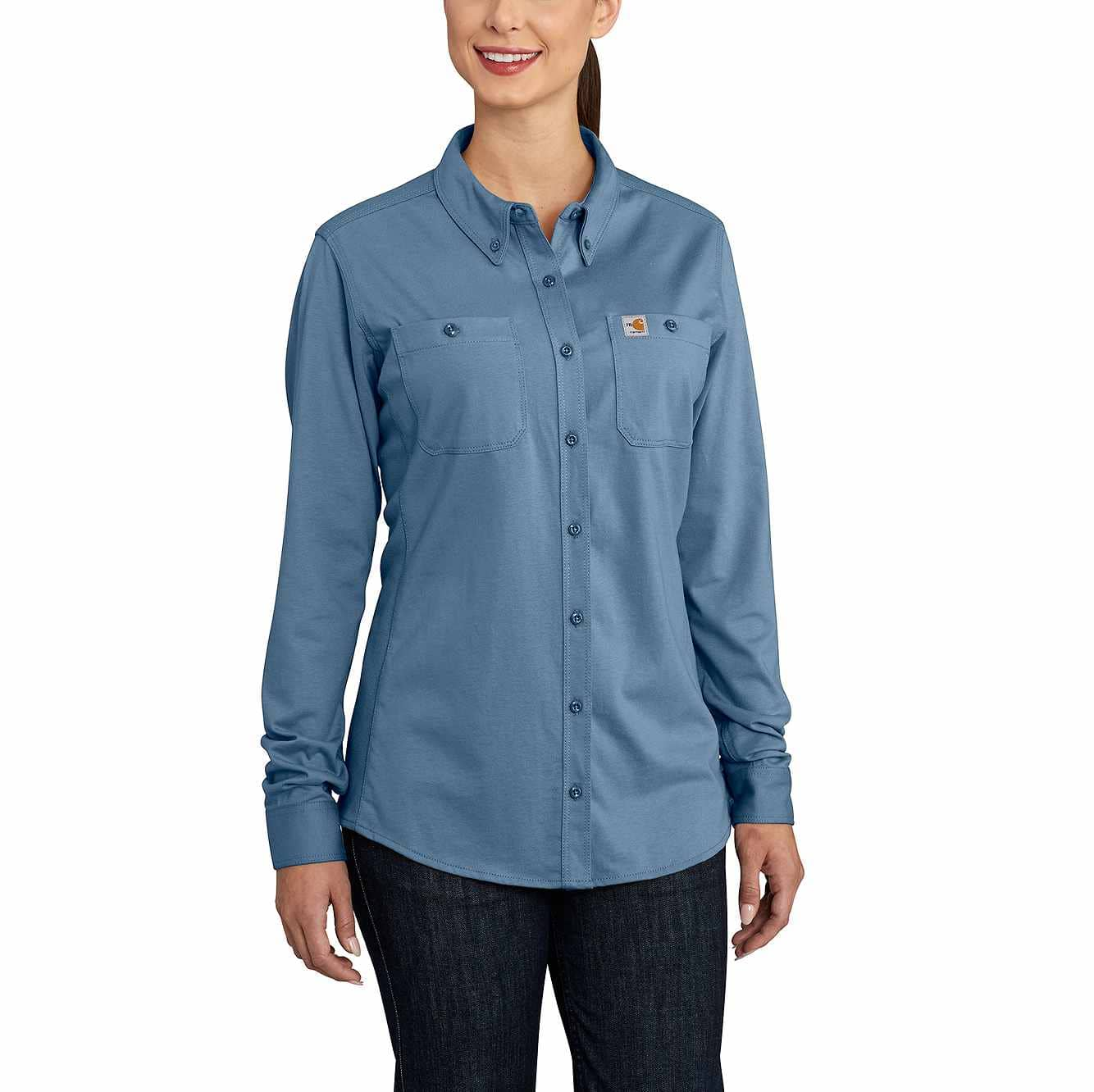 Picture of Women's FR Force Cotton Hybrid Shirt in Medium Blue
