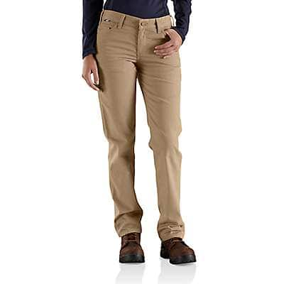 Carhartt  Golden Khaki Women's FR Original-Fit Rugged Flex®Canvas Pant - front