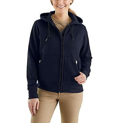 Carhartt Women's Dark Navy Flame-Resistant Rain Defender® Hooded Heavyweight Zip-Front Sweatshirt - front