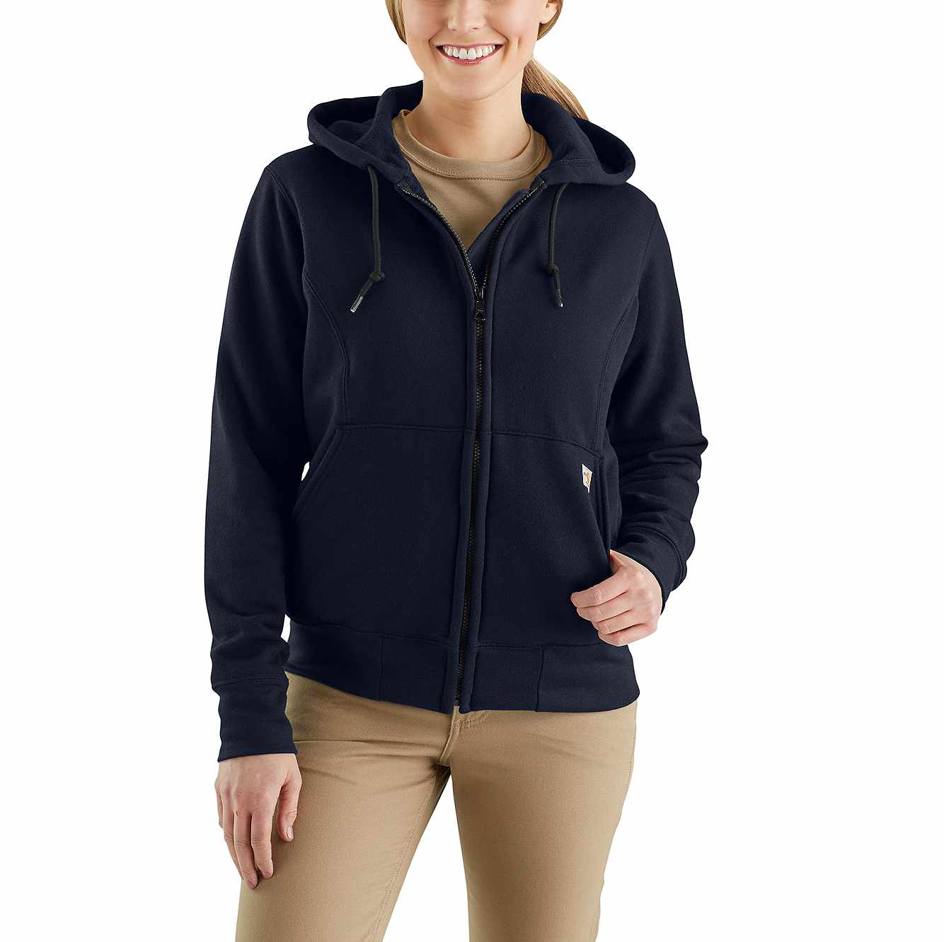 Picture of Flame-Resistant Rain Defender® Hooded Heavyweight Zip-Front Sweatshirt in Dark Navy