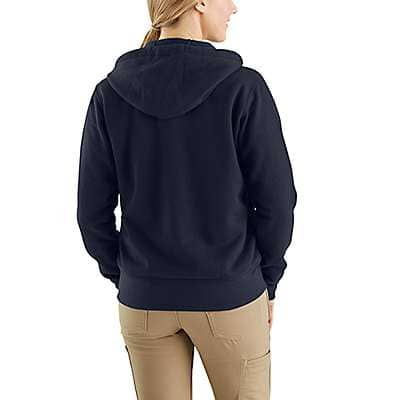 Carhartt Women's Dark Navy Flame-Resistant Rain Defender® Hooded Heavyweight Zip-Front Sweatshirt - back