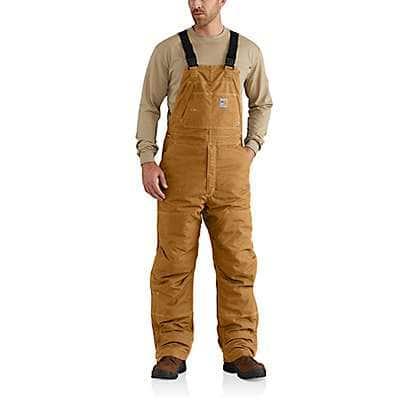 Carhartt Men's Carhartt Brown Flame-Resistant Quick Duck® Bib Overall/Quilt-Lined