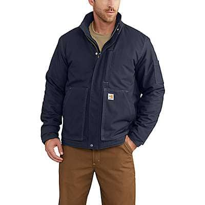 Carhartt Men's Dark Navy Full Swing® Quick Duck® Flame-Resistant Lanyard Access Jacket - front
