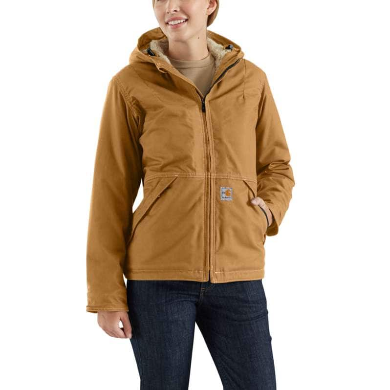 Carhartt  Carhartt Brown Flame-Resistant Full Swing® Quick Duck® Jacket/Sherpa-Lined