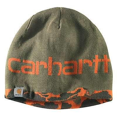 Carhartt Men's Burnt Olive Camo Montgomery Reversible Hat - back