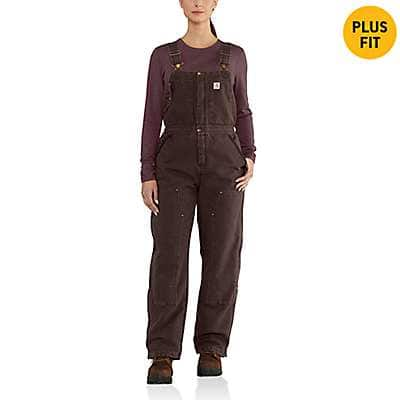 Carhartt Women's Dark Brown Weathered Duck Wildwood Bib Overall - front