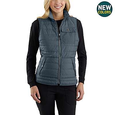 Carhartt Women's Dark Slate Amoret Reversible Flannel-Lined Vest - front