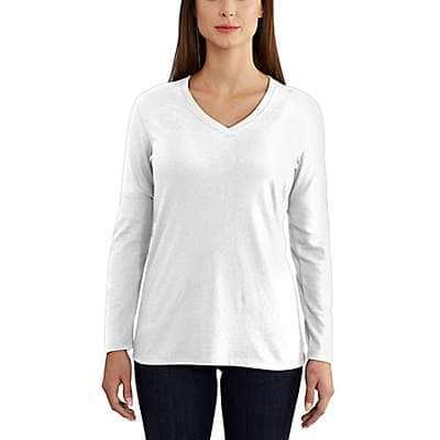 Carhartt Women's White Lockhart Long Sleeve V-Neck T-Shirt - front