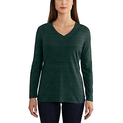 Carhartt Women's Canopy Green Nep Lockhart Long Sleeve V-Neck T-Shirt - front