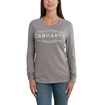 "Carhartt Women's Heather Gray Lockhart Graphic  ""Built by Hand"" Long Sleeve T-Shirt - front"