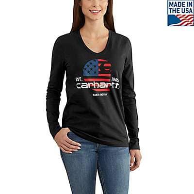 Carhartt Women's Black Lubbock Graphic Filled FlagLong-sleeve V-neck T-Shirt - front