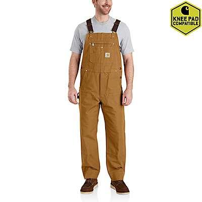 Carhartt Men's Carhartt Brown Duck Bib Overalls - front
