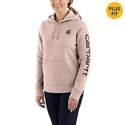 Carhartt Women's Rose Smoke Heather Clarksburg Graphic Sleeve Pullover Sweatshirt - front
