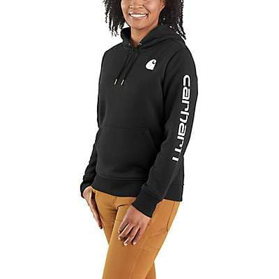 Carhartt Women's Black Relaxed Fit Midweight Logo Sleeve Graphic Sweatshirt