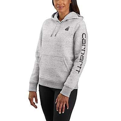 Carhartt Women's Asphalt Heather Nep Relaxed Fit Midweight Logo Sleeve Graphic Sweatshirt