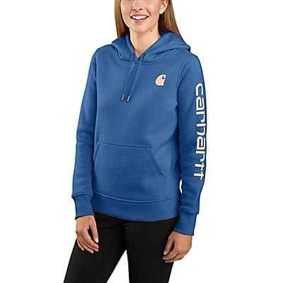 Carhartt Women's Light Cobalt Relaxed Fit Midweight Logo Sleeve Graphic Sweatshirt