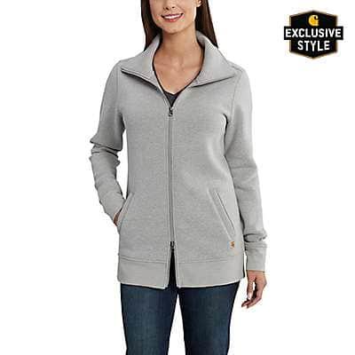 Carhartt Women's Asphalt Heather Clarksburg Zip Front Tunic Sweatshirt - front