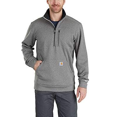 Carhartt Men's Granite Heather Force Extremes® Mock Neck Half Zip Sweatshirt - front